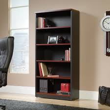 Four Shelf Bookcase Sauder Via Four Shelf Bookcase Cherry Finish And Black Accents
