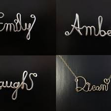 Gold Cursive Name Necklace Shop Personalized Wire Necklace On Wanelo