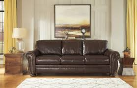 Traditional Leather Sofas Traditional Leather Match Sofa With Rolled Arms Nailhead Trim
