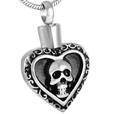 memorial necklace for ashes human skull heart urn cremation jewelry ashes pendant keepsake