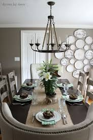 standard height of light over dining room table house tour dining room burlap runners plate wall and side chair