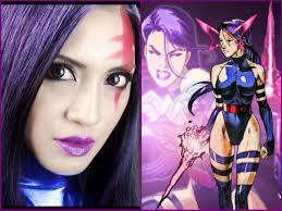 Halloween Makeup Step By Step Easy Step By Step Cosplay Halloween X Men Marvel Psylocke Makeup
