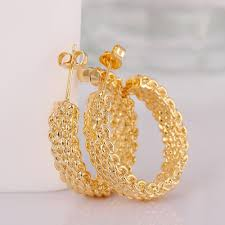 gold ear studs gnimegil fashion gold color mesh semicircle stud earrings for