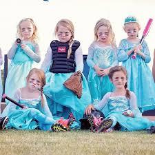 girls u0027 frozen inspired softball team photo popsugar moms