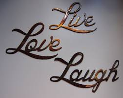 live love laugh small version words metal wall art accents on etsy
