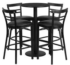 metal bar table set btod 24 round top bar height breakroom table w stools