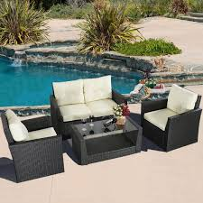 Black Wicker Furniture Gym Equipment Outdoor Wicker Rattan Furniture Patio Set 4 Piece