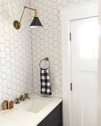 Light Tile With Dark Grout Black Hexagon Tile Large Black Hexagon Tiles And A Wire Bar Cart