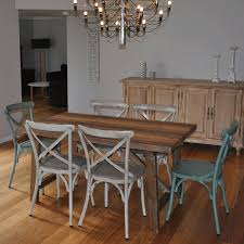 industrial kitchen table furniture 1 5m industrial dining table w 6 cross back chairs buy 7 sets