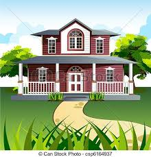 drawing home sweet home illustration of front view of house in natural