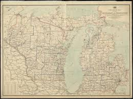 Map Of Illinois And Indiana by Post Route Map Of The States Of Michigan And Wisconsin With