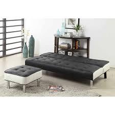 canapé simili cuir convertible cabrera canapé noir convertible lit 3 personnes avec repose pieds