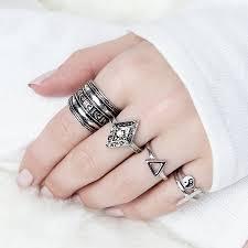 ring set boho ring set by junk jewels notonthehighstreet