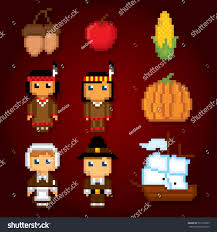 thanksgiving animated emoticons thanksgiving icon set pixel art old stock vector 503178295
