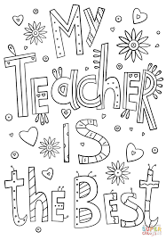 my teacher is the best doodle coloring page free printable