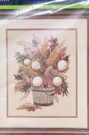 vintage crewel embroidery kit autumn bouquet in rustic