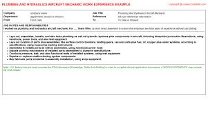 Aircraft Mechanic Resume Template Plumbing And Hydraulics Aircraft Mechanic Job Title Docs