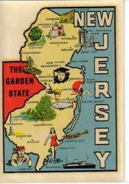 Garden State Plaza Map by Vintage New Jersey Garden State Map Goldfarb Souvenir Travel Water