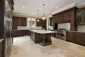 what color tile goes with brown cabinets kitchen of wood