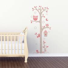 toise chambre bébé sticker mural toise chouettes gris et motif bébé fille