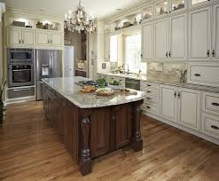 baffling white wooden kitchen cabinets with brown color kitchen