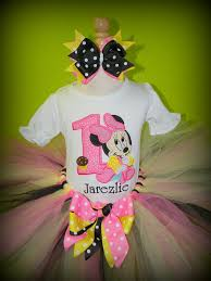 Pink And Black Minnie Mouse Decorations 1st Birthday Baby Minnie Mouse Pink Black And Yellow Tutu Set To