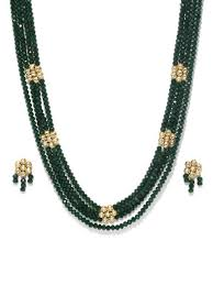 gold beaded necklace set images Rubans gold toned handcrafted floral kundan emerald beads long harram jpg
