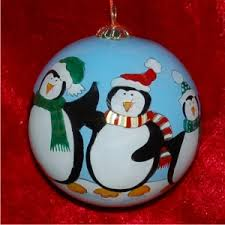 family of 4 penguin glass ornament 500 glass