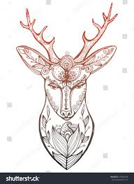 stylized portrait deer forest animals stock vector 479694799