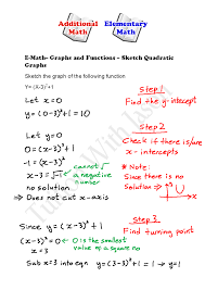 e math functions and graphs sketching quadratic graphs 2