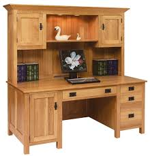 Amish Made Computer Desks Large Mission Computer Desk With Hutch Top