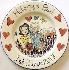 ceramic wedding plates weddings anniversary plates kate glanville painted tiles