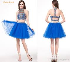 crystal royal blue two piece prom dresses ball gowns halter beaded