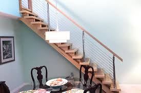 Wooden Handrail Cable Railing With Wooden Handrail