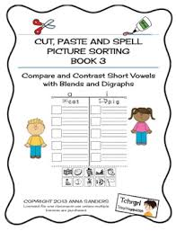 cut and paste u0026 spell phonics picture sorting worksheets blends