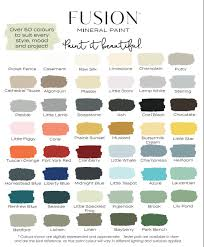 fusion mineral paint colour chart for the love creations