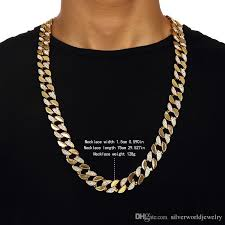 necklace length men images Best 18 k gold hip hop bling cuban curb chain men yellow half jpg