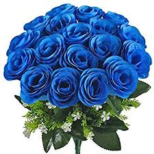 blue roses artificial flowers amyhomie silk roses bouquet home