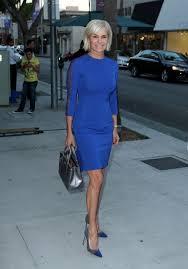 yolanda clothing off housewives yolanda foster s blue dress with mesh sleeve shoes purse big