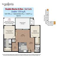 double master bedroom floor plans 2 bedroom den plans la galleria