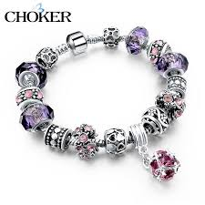 bracelet charm crystal images Crystal charm bracelet with purple murano glass beads ishopninja jpg