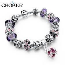 bracelet charm crystal images Crystal charm bracelet with purple murano glass beads ishopninja jpg