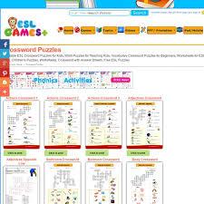 printable esl crossword puzzles for kids worksheets for kids
