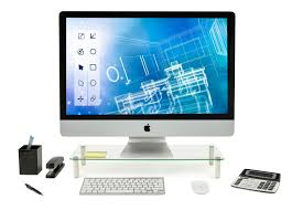 glass and aluminum lcd led tv stand computer monitor riser laptop