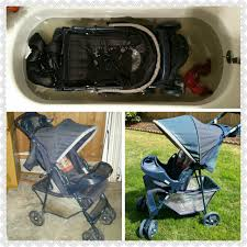 cleaning stroller basket was stained and filthy from being stored