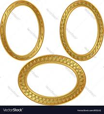 golden oval frame with ornaments royalty free vector image