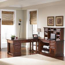 L Shaped Computer Desk With Hutch by Furniture Pretty Black L Shaped Desk With Hutch Made Of Wood By
