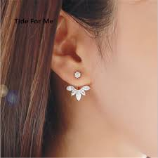 clear earrings trendy jewelry popular silver clear rhinestone flower stud