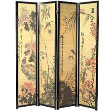 decorative chinese calligraphy design wood u0026 bamboo hinged 4 panel