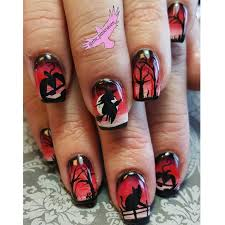 red hand painted halloween nails nail art with a cat witch dead